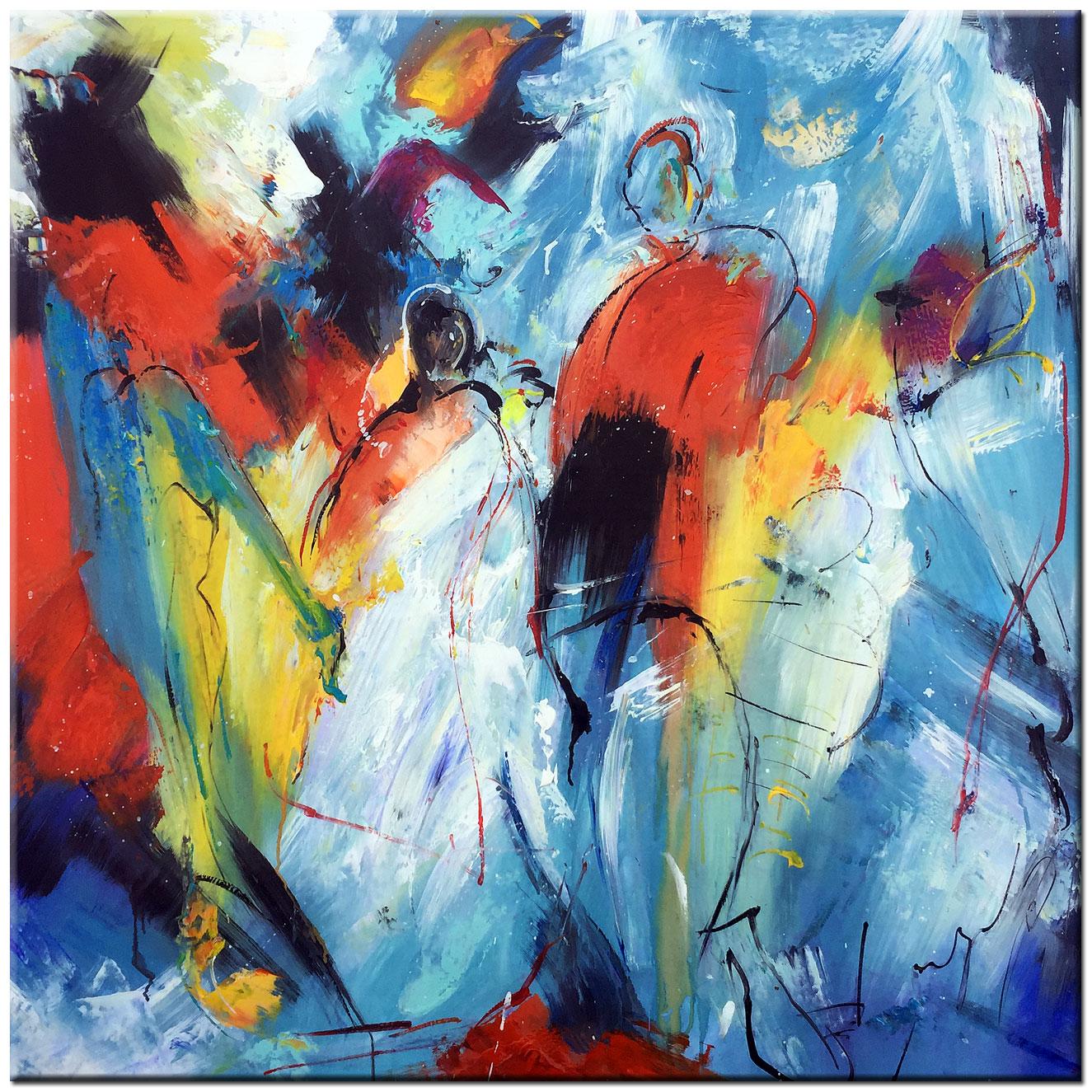 Bedwelming Door de Vrieskou abstract schilderij 100x100cm – Bestpainting.nl &JB05