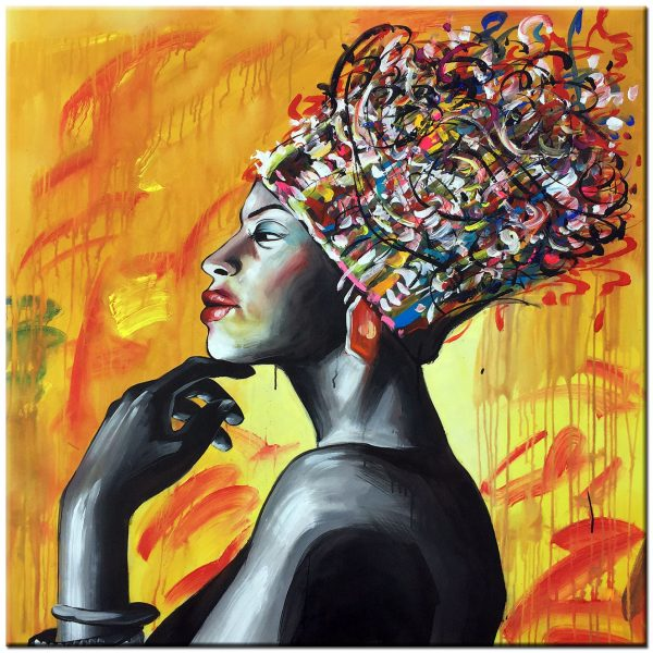 afrikaanse dame modern schilderij