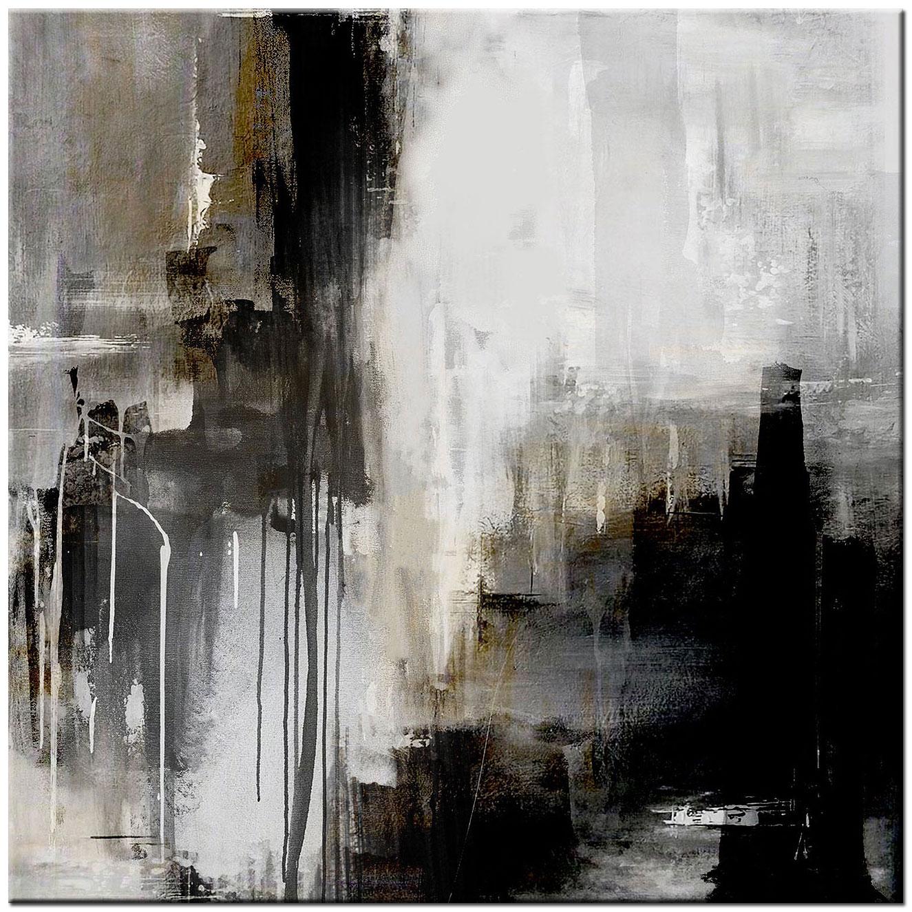 Beste In de Schaduw zwart/wit abstract schilderij 100x100cm VP-12