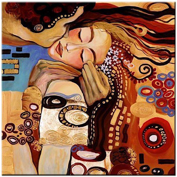 Klimt de kus schilderij