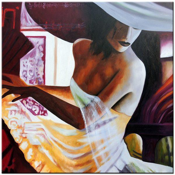 dame met hoed modern schilderij