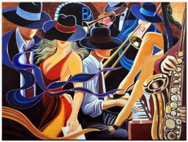 muziek maken modern schilderij