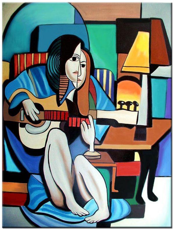 gitaar spelen modern schilderij