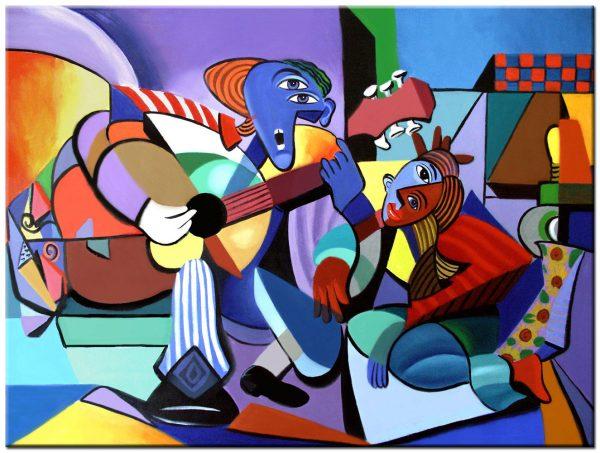 Gitaar modern schilderij