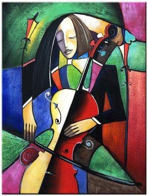Cello spelen modern schilderij