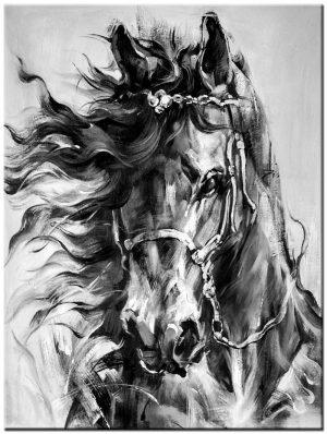 paard zwart/wit schilderij