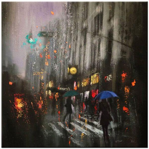 City bij night schilderij