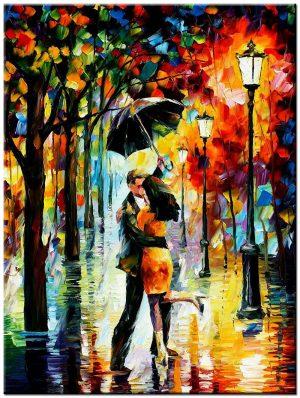 In de regen modern schilderij