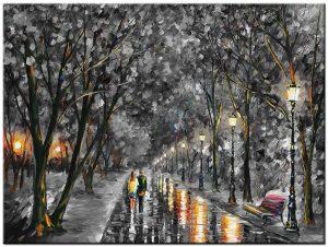 avondwandeling zwart/wit schilderij
