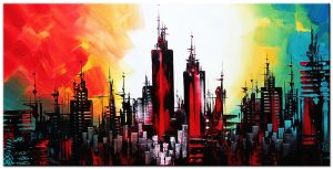 skyline modern groot schilderij