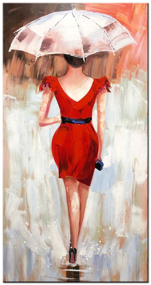 schilderij dame met paraplu