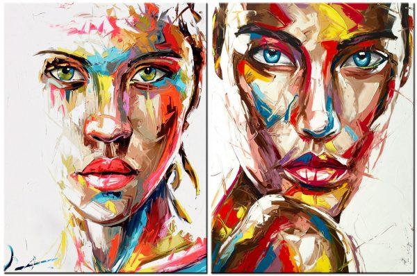 dame modern schilderij twee luik