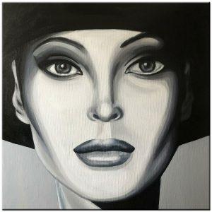 dame modern zwart/wit schilderij