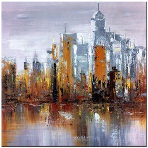 skyline olieverf schilderij