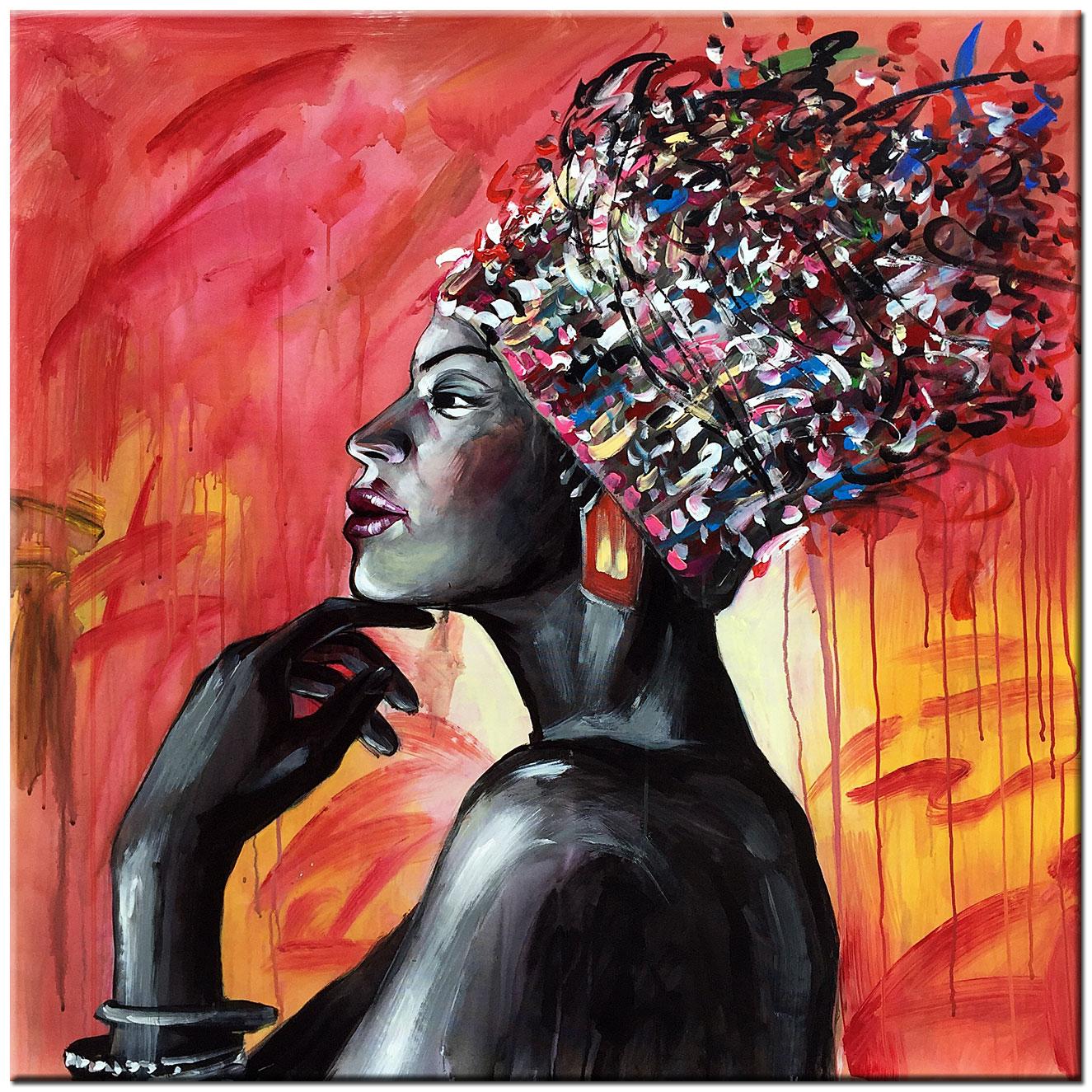 Zeer Afrikaanse Dame schilderij 100x100cm – Bestpainting.nl #OT26