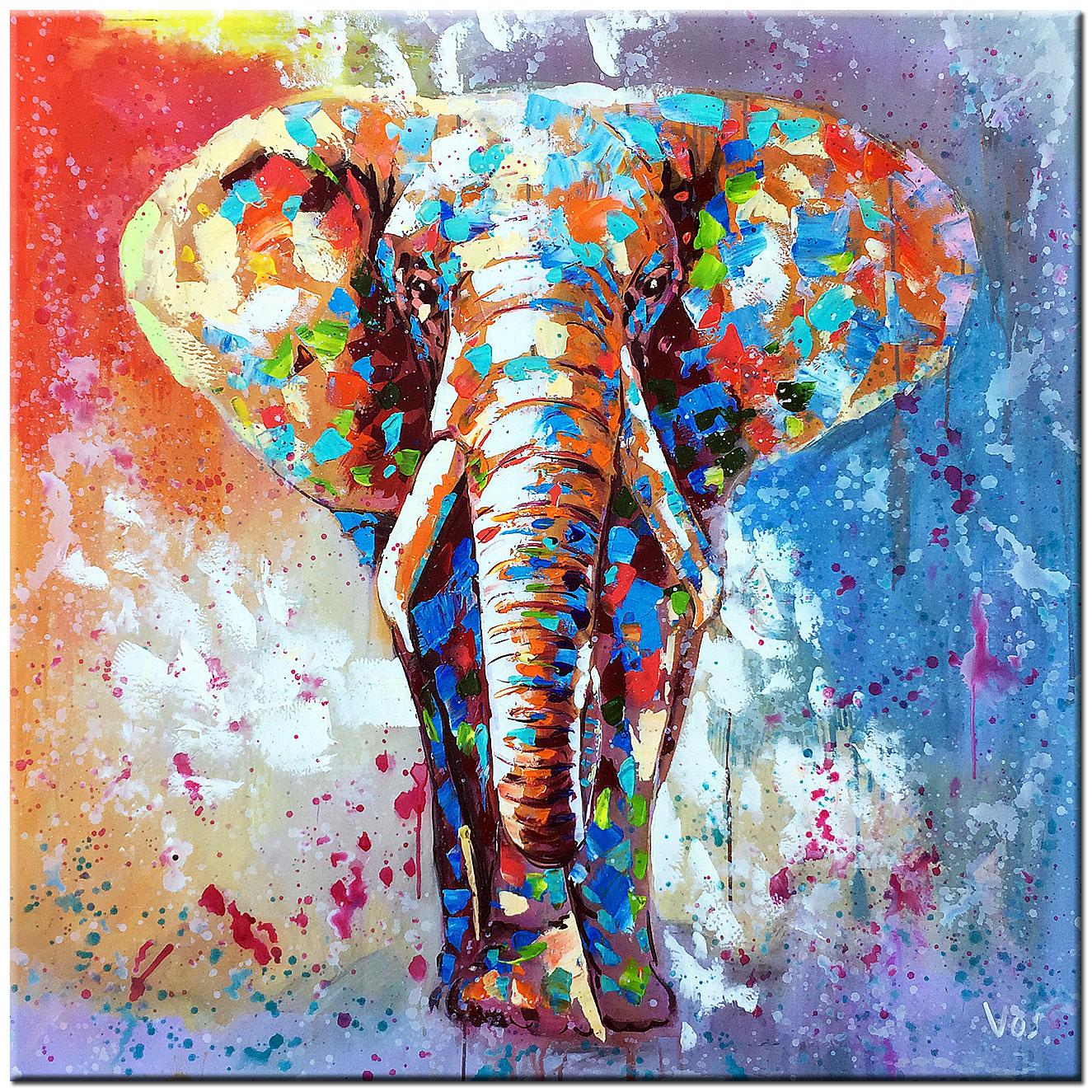Olifant modern schilderij 100x100cm for Schilderij olifant